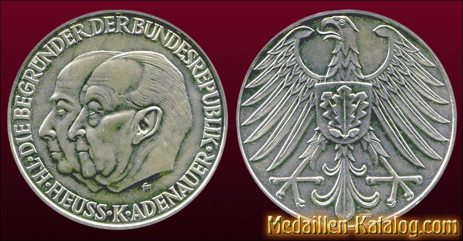 Die Begründer der Bundesrepublik - Th. Heuss K. Adenauer | Gold & Silber Medaille Münze Gedenkmedaille Gedenkmünze