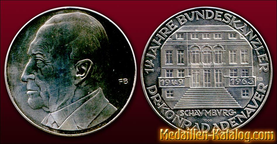 Dr Konrad Adenauer 14 Jahre Bundeskanzler 1963 Gold Silber
