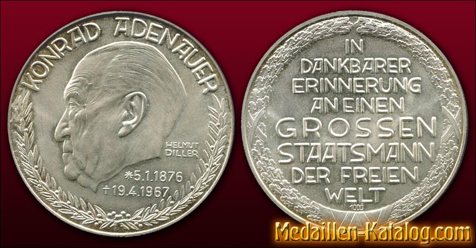 Konrad Adenauer 1967 – In dankbarer Erinnerung an einen grossen Staatsmann der freien Welt | Gold & Silber Medaille Münze Gedenkmedaille Gedenkmünze