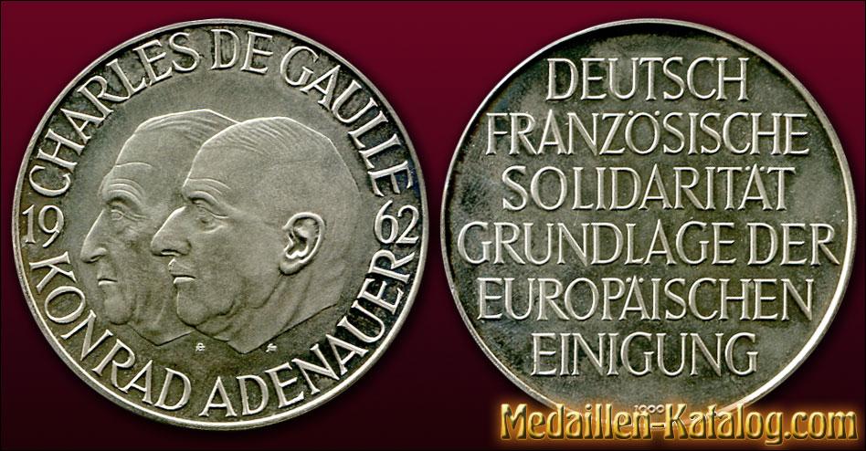Charles de Gaulle und Konrad Adenauer 1962 - Deutsch-Französische Solidarität | Gold & Silber Medaille Münze Gedenkmedaille Gedenkmünze