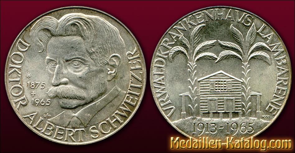Doktor Albert Schweitzer - Urwaldkrankenhaus Lambarene - 1913-1965 | Gold & Silber Medaille Münze Gedenkmedaille Gedenkmünze