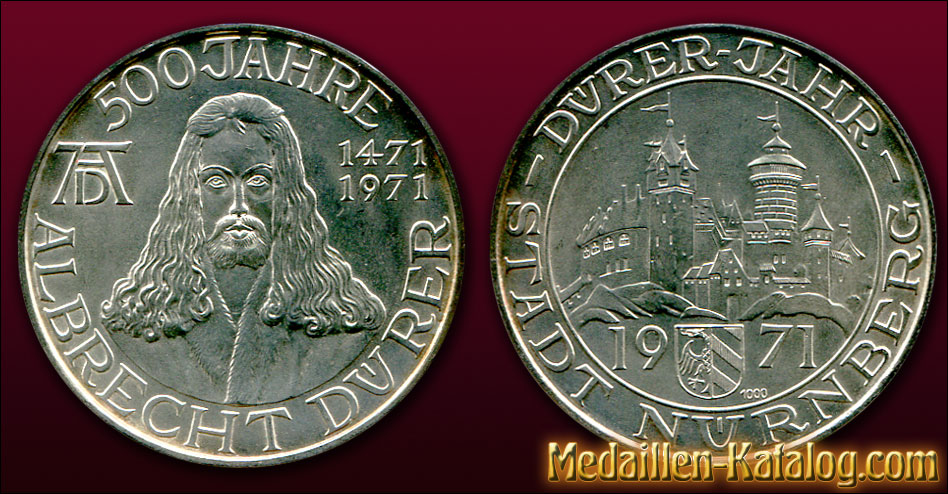 500 Jahre Albrecht Dürer 1471-1971 Dürer-Jahr Stadt Nürnberg | Gold & Silber Medaille Münze Gedenkmedaille Gedenkmünze