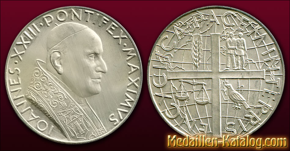 Johannes XXIII Pontifex Maximus - Encyclica Pacem In Terris 1963 | Gold & Silber Medaille Münze Gedenkmedaille Gedenkmünze