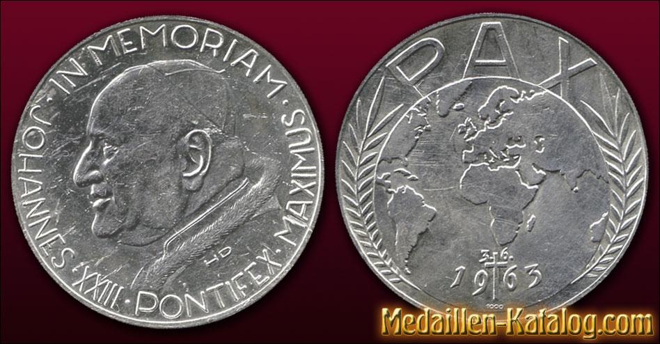 Johannes Xxiii Pontifex Maximus In Memoriam Pax 1963 Gold Silber