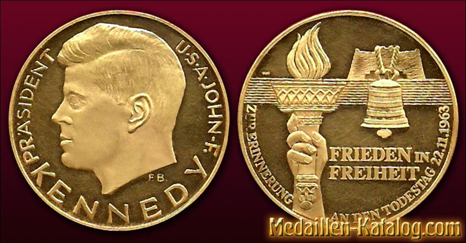Präsident USA John-F. Kennedy - Frieden in Freiheit - Todestag 1963 | Gold & Silber Medaille Münze Gedenkmedaille Gedenkmünze