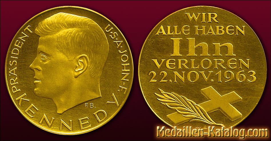John-F. Kennedy Präsident USA - Wir alle haben ihn verloren 22. Nov. 1963 | Gold & Silber Medaille Münze Gedenkmedaille Gedenkmünze