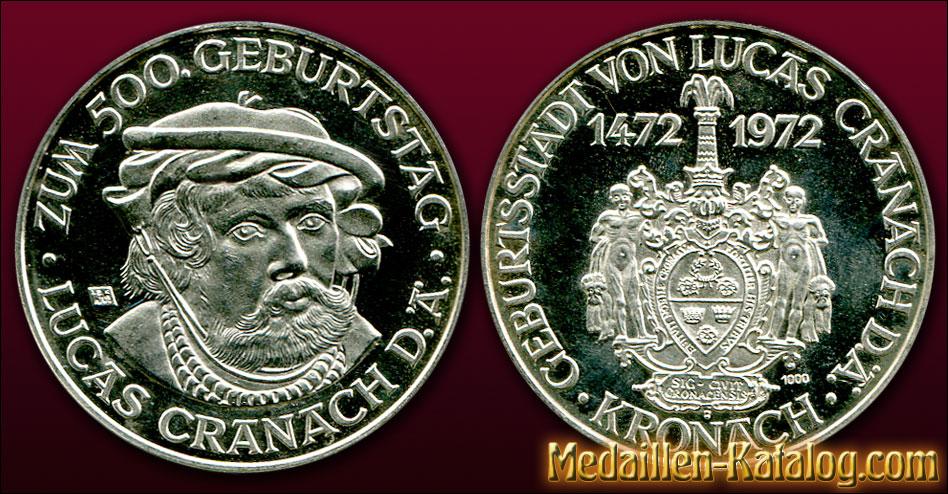 Lucas Cranach 500. Geburtstag Geburtsstadt Kronach 1472-1972 | Gold & Silber Medaille Münze Gedenkmedaille Gedenkmünze