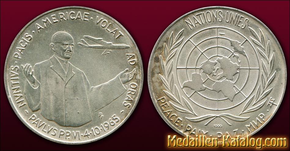 Paulus PP VI 4.10.1965 Nuntius Pacis Americae Volat Ad Oras - Nations Unies Peace Pax Paz | Gold & Silber Medaille Münze Gedenkmedaille Gedenkmünze