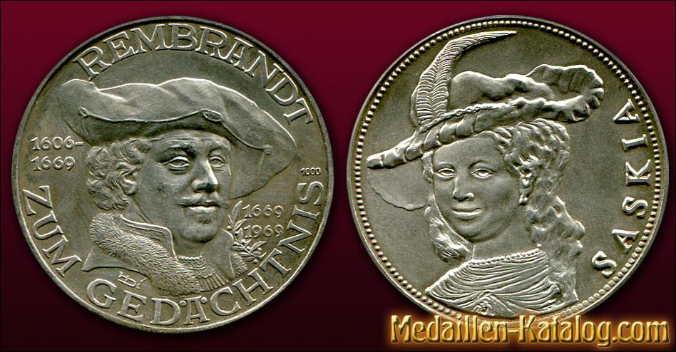 Rembrandt 1606-1669 Zum Gedaechtnis 1969 Saskia | Gold & Silber Medaille Münze Gedenkmedaille Gedenkmünze