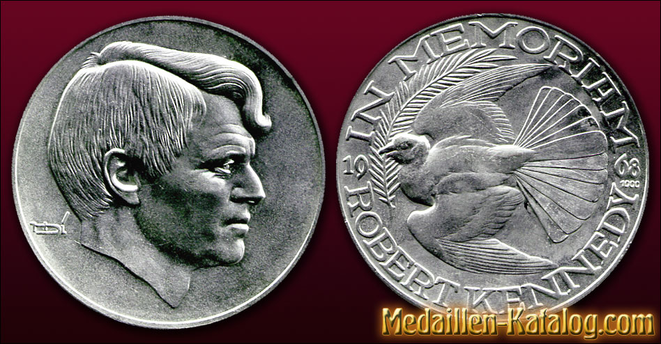 Robert Kennedy In Memoriam 1968 Gold Silber Medaille Münze