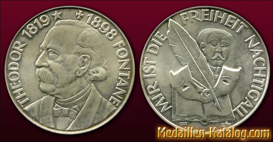 Theodor Fontane 1819-1898 - Mir ist die Freiheit Nachtigall | Gold & Silber Medaille Münze Gedenkmedaille Gedenkmünze