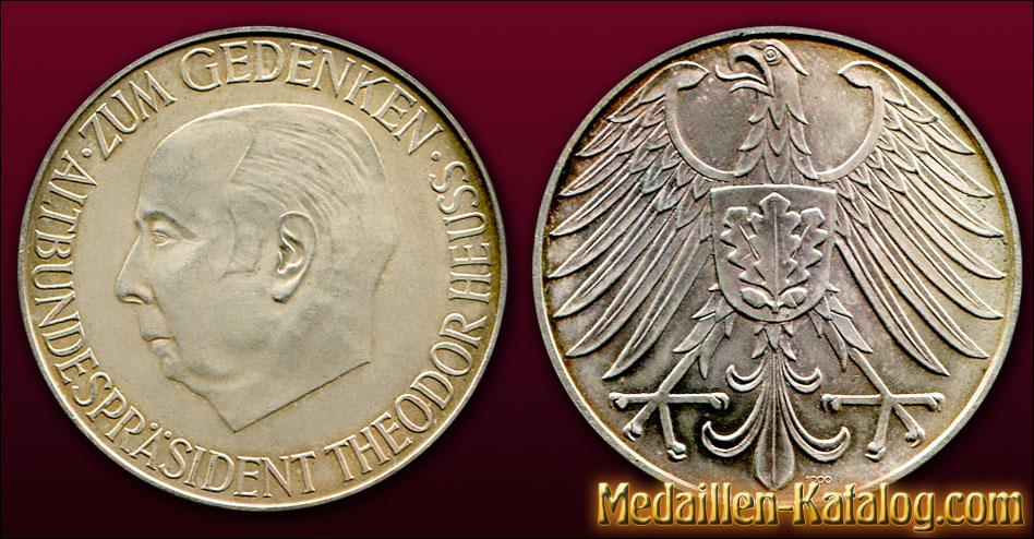 Altbundespräsident Theodor Heuss - Zum Gedenken 1963 | Gold & Silber Medaille Münze Gedenkmedaille Gedenkmünze