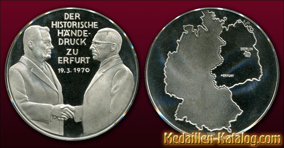 Der historische Händedruck zu Erfurt 19. 3. 1970 | Gold & Silber Medaille Münze Gedenkmedaille Gedenkmünze