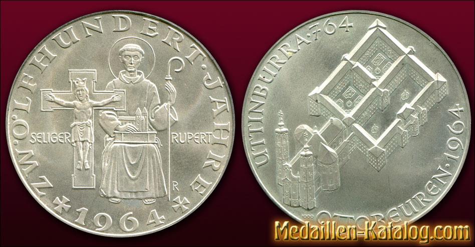 Zwölfhundert 1200 Jahre Seliger Rupert Uttinburra 764 Ottobeuren 1964 | Gold & Silber Medaille Münze Gedenkmedaille Gedenkmünze