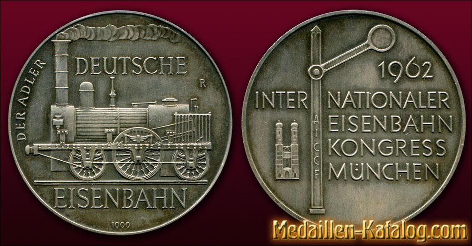 Der Adler Deutsche Eisenbahn Internationaler Eisenbahn Kongress München AICCF 1962 | Gold & Silber Medaille Münze Gedenkmedaille Gedenkmünze